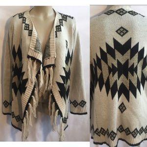 Altar'd State Tan & Black Aztec Knit Cardigan M